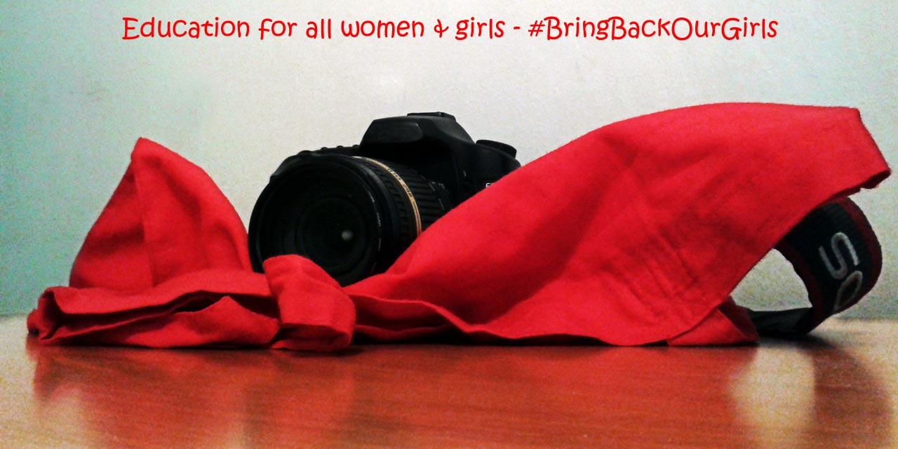 BringBackOurGirls Education for all women and girls - red reflex camera